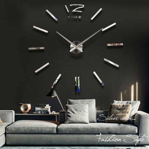 ONETIME Silberne Riesen Designer Wanduhr Wohnzimmer Dekoration Wandtatoo XXL 3D aus Acryl