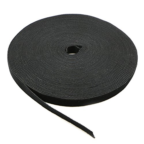 Saisn Reusable Fastening Tape Cable Ties 3/4 Inch Double Side Hook Roll (25 Yard, Black)