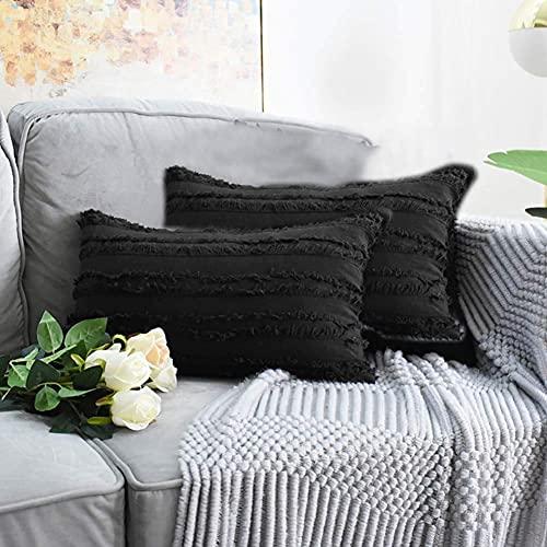 eewopjkj 2 Fundas de cojín Decorativas de algodón y Lino con diseño de borlas Fundas para el hogar para sofá Silla Coche Dormitorio Fundas de Almohada Decorativas Negro 30 x 50 cm (12 x 20 PU