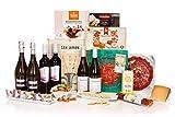 San Jamón - Cesta Regalo Gourmet Ibérica, Tirón. Jamón, Chorizo y Lomo Ibéricos, Queso Manchego, Turrón, Crackers, Bombones, Pastas y Vino