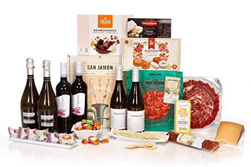 San Jamón - Cesta Regalo Gourmet Ibérica, Tirón. Jamón, Chorizo y Lomo...