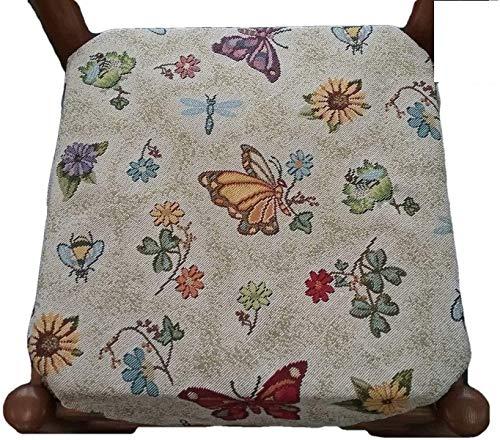 Cuscini sedie Cucina - Set 4 Pezzi - con Alette - con Zip - Tessuto gobelin art . farfalle