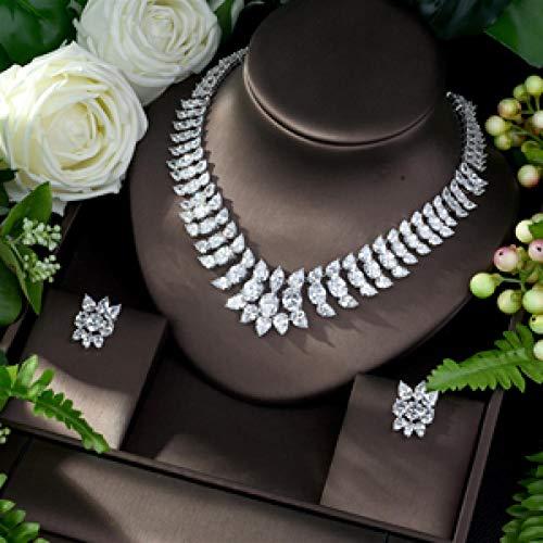 LIYDENG Joyas Pendientes De Collar De Zirconia Nupcial De 2 Piezas para Mujeres Fiesta De Joyería De Boda De Cristal CZ De Lujo De Fiesta (Color : Silver)