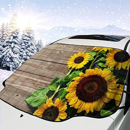 lovely baby-Z Sunflower On Wood - Cubierta de nieve para parabrisas de coche, protección de invierno, ajuste universal para coches, camiones, furgonetas y todoterrenos, grueso y grande