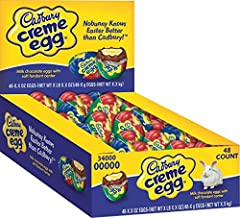 The perfect addition to any Easter basket or dining room centerpiece A smooth milk chocolate egg with two Cadbury Creme Eggs A delicious twist on the classic favorite Individually wrapped 1.2 ounce eggs Includes 48 Cadbury Easter Crème Egg (1.2-Ounce...