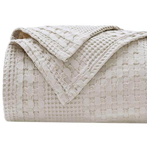 PHF 100% Cotton Waffle Weave Blanket Twin Size 66 x 90 for Home Decorations - Textured, Breathable, Skin-Friendly, Moisture Absorption Blanket for All Season - Perfect for Couch Bed Sofa Khaki