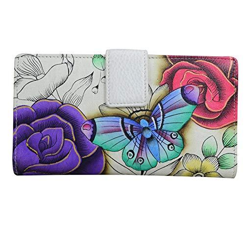 Anna by Anuschka Damen Bi-Fold Organizer Wallet zweifach faltbares Portemonnaie, Organisierer-echtes Leder, Blumenparadies, Einheitsgröße