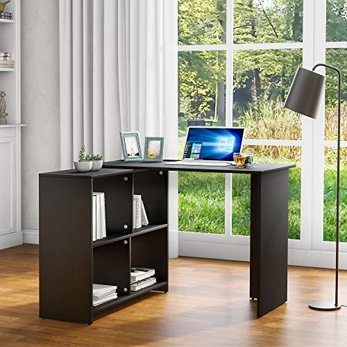 ModernLuxe - Scrivania ad angolo, scrivania per computer, per studio, casa, ufficio, soggiorno, colore: Nero
