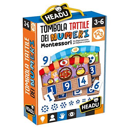 Headu- Tombola Tattile Montessori dei Numeri Gioco Educativo, Multicolore, IT20249