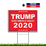 """VIBE INK President Donald Trump - Keep America Great! 2020 Political Campaign Rally Yard Sign (24""""x18"""") Included Metal Stake - Made in America, Waterproof, Double Sided Print (Red 100PK)"""