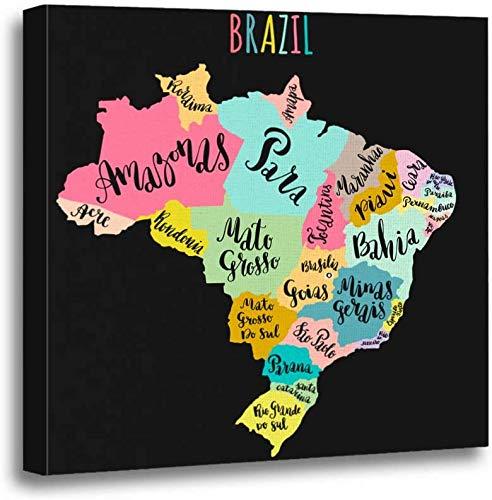 Mesllings - Quadro artistico su tela, 30,5 x 30,5 cm, motivo: mappa del Brasile, paesi moderni, nomi, viaggi per la casa