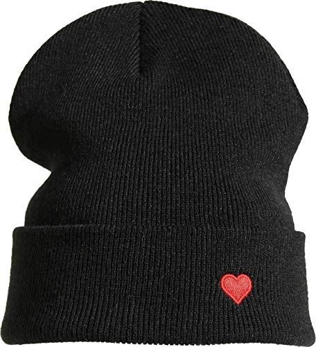 Strickmütze: Herz - Wollmütze Winter-Mütze - Liebe Love - Long Beanie Herren Damen Junge-n Mädchen Kind-er - Ski Snowboard Hip Hop Mütze - Schwarz - Hipster Streetwear Urban - Geschenk (One Size)