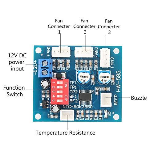 Wosune Regulador de Ventilador de PC, Controlador de Velocidad de Ventilador DC12V práctico, Estable, Duradero y práctico, para diámetro de Orificio de posicionamiento de 3 Mm de Cuatro Cables