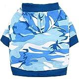 Whiie891203 Hunde-Kleidung, Weihnachtshund-Welpenkostüm für Haustiere, Kekse, Bedruckt, Camouflage, Baumwolle, blau, xs