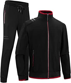 Luckyoung Men's Athletic Jogging Tracksuit 2 Piece Sports Set Casual Running Sweat Suit