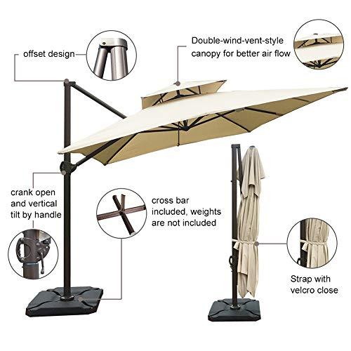 Abba Patio 9 x 12 ft Rectangular Patio Offset Hanging Umbrella Double Top Cantilever Umbrella with Easy Tilt & Cross Base for Garden, Deck, Backyard, Pool, Beige