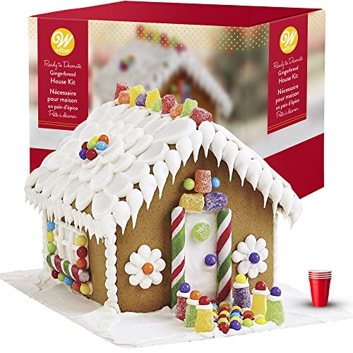 Gingerbread House Kit - BIG! Christmas Traditional Gingerbread House Decorating Kit, Pre-assembled - Includes Ready House, 3 Types of Candies, White Icing, Decorating Bag & Tip. Bundled With (4) SEWANTA Candy Cup Holders