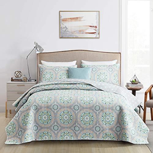 CHIXIN Tagesdecke 220x240 cm Bettüberwurf Steppdecke Boho Blumenmusters Bettdecke Stepp Decke Doppelbett unterfttert und Gesteppt