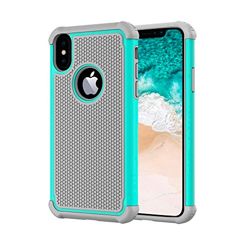 AGRIGLE Hybrid Heavy Duty Protection Shockproof Defender Anti-Scratch Soft Rubber Bumper Cover Case Compatible with iPhone X/XS 5.8 inch (Teal)