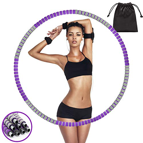 QBA Hula Hoop for Adults, Weighted Hula Hoop 3 lb, Detachable Adjustable Heavy Hoola Hoop for Weight Loss Fitness Exercise Workout