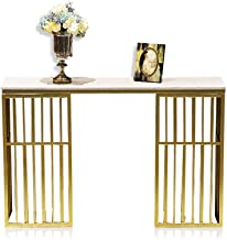 Console Table,Iron Art Display Table Marble Entrance Cabinet Livingroom Sofa Table Gold 30 × 11 × 29 Inch