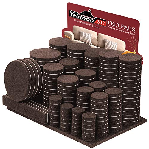 Felt Furniture Pads -347 Pcs Furniture Pads Self Adhesive, Cuttable Felt Chair Pads, Anti Scratch Floor Protectors for Furniture Feet Chair Legs, Furniture Felt Pads for Hardwoods Floors, Brown