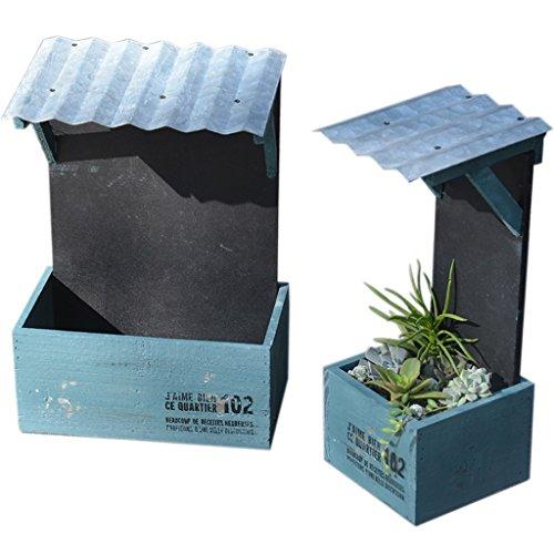 MEILING Village Retro Vieille Maison En Bois Pot De Fleur Suspendu Viande Pot De Viande Petit Bonsaï Aménagement Paysager Balcon Jardin Décoration