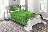 ABAKUHAUS Fußball Tagesdecke Set, Grunge Fußball Design, Set mit Kissenbezügen Sommerdecke, für Einzelbetten 170 x 220 cm, Weiß Schwarz Grün