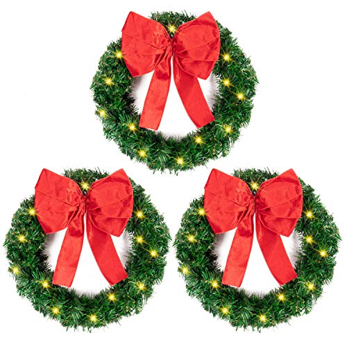Rocinha Pre-lit Christmas Wreaths with Bow Battery Operated Christmas Wreath for Window, Front Door, Wall Decor, Fireplace, 15.7 Inches, Set of 3