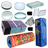 Kit helps you perform over 25 experiments using prism, lenses, glass slab, 3 types of mirror, optical ray box Useful for V to XII standards. It helps students to learn basic about Reflection, Refraction, Refractive Index, Dispersion, Interference, Di...