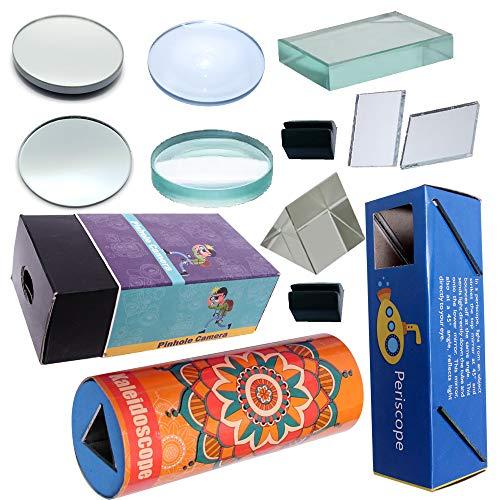 THE CURIOUS BRAIN® Educational Lens, Mirror, Glass SLABE, Prism Set with Periscope, Kaleidoscope & PINHOLE Camera- for Boys & Girls Science FAIR Model- STEM Activity