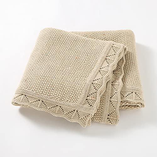 Manta para Bebés Recién Nacidos de Punto de Algodón 100% Orgánico 80 x 100 cm Colcha Suave Tejida Crochet Color Beige Jaspeado Certificado Gots Grosor Medio con Borde Calado