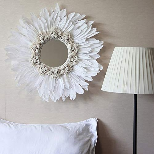 ZHOUSITONGEU Modern Handmade Tapestry Feather Glass Mirror Muur decoratieve Mirrored (Black A) (Color : White A)