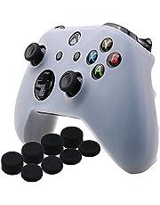 YoRHa silicona caso piel Fundas protectores cubierta para Microsoft Xbox One X y Xbox One S Mando x 1 (blanco) Con Pro los puños pulgar thumb grips x 8
