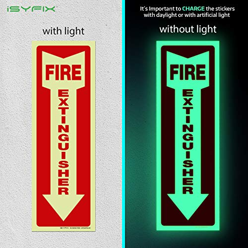 Fire Extinguisher Glow in the Dark Sticker Sign – 3 Pack 4x12 Inch – Premium Self-Adhesive Vinyl, Laminated for Ultimate UV, Weather, Scratch, Water and Fade Resistance, Indoor and Outdoor