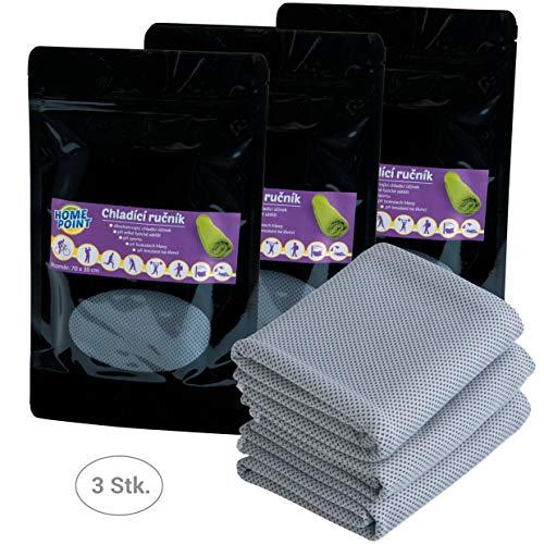 Home Point Kühlendes Handtuch - 3er Set grau 70 x 30 cm Mikrofaser Handtuch - Sporthandtuch Kühlhandtuch - kühlt 2-4 Stunden - Kühltuch für Outdoor Fitness Sport Tennis Fußball Sonnenbad