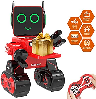 Remote Interactive Control Robots Toy,GMSUNNY Educational Stem Toys Robotics for Kids Sing,Dancing,Built-in Piggy Bank,Touch Control, Recorder,Rechargeable RC Robot Kit Gifts for Boys and Girls ( Red)