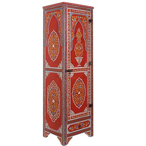Casa Moro Marokkanischer Kleiderschrank Bedia 60x50x200 cm (B/T/H) handbemalt aus Vollholz | Kunsthandwerk aus Marrakesch | Orientalischer Holzschrank wie aus 1001 Nacht | MO4208