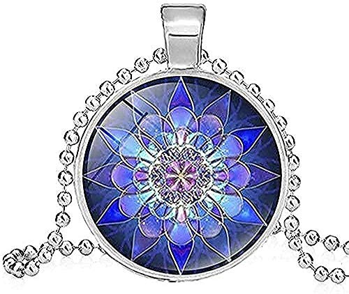 BEISUOSIBYW Co.,Ltd Collar de Regalos, Collar con Colgante de Yoga Espiritual de Moda para Mujeres, Collar de Henna Yoga, Collar de Flores de Arte Budista, Collar de joyería