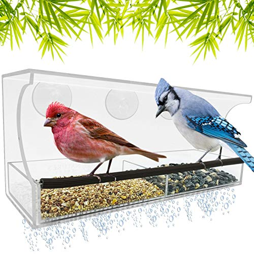 Window Bird Feeder - Strong Suction Cups for Outside - Clear Acrylic for Close Up View - Slide Out Seed Tray for Easy Clean - Large Feeders for Finch, Cardinal, Bluebird, & Other Wild Birds