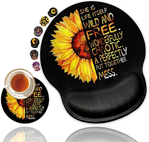 Ergonomic Mouse Pad with Gel Wrist Rest Support, Non Slip PU Base Mouse Pad Wrist Rest for Computer, Laptop, Home Office Gaming, Working, Easy Typing & Pain Relief (Watercolor Sunflower)
