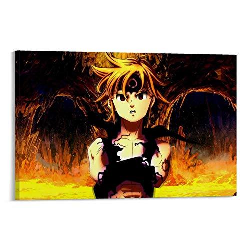XIAOGANG Nanatsu No Taizai Metal Anime Poster su tela e Wall Art Poster Modern Family Camera da letto Decor Poster 50 x 75 cm