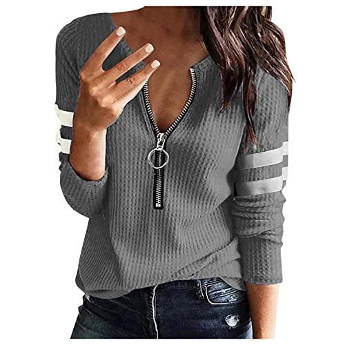 XUNN Camiseta de manga larga para mujer, cuello en V, cremallera de punto, suelta, térmica, túnica, gris, XL