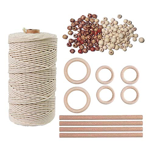 Robber Filo macramee 3 mm 109 Yards naturale in macramè 119 pezzi fatto a mano in cotone kit da parete Beh?Nge Wohnen cultura fai da te per Crafts