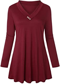 Women's V-Neck Long Sleeve Pullover Shirts Tunic Top