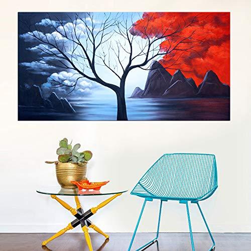 yhyxll Abstrakte Landschaft Leinwandbilder Große Größe Modern Home Dekorative Baum- und Bergbilder für Wohnzimmer Wanddekoration 70x140cm