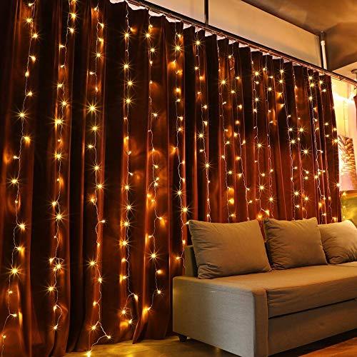 VINGO 3 * 3M LED Lichtervorhang mit 300 LEDs Weihnachtslichterkette Vorhang 8 Modi mit Steuerbox Netz-ineinander Greifen