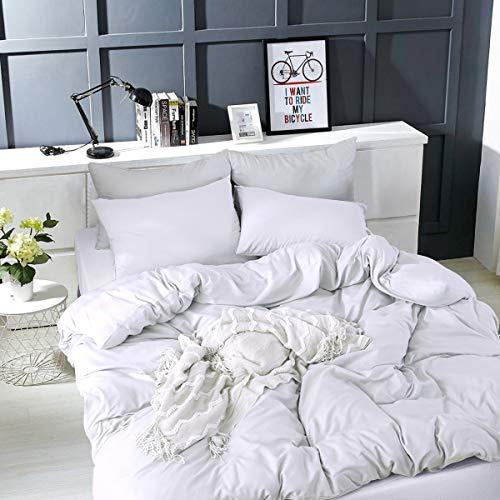 RUIKASI Bettwäsche Set 220 x 240 cm Weiß Bettwäsche 100% Weiche und Angenehme Mikrofaser Schlafkomfort - 1 Bettbezug 220 x 240 cm mit Reißverschluss + 2 Kissenbezüge 80 x 80-10 Jahre Garantie - weiß
