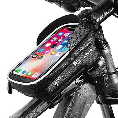 WESTGIRL Fahrrad Rahmentasche, Wasserdicht Fahrrad Lenkertasche Handyhalterung mit TPU Touchscreen, Fahrradtasche Oberrohrtasche mit Sonnenblende Kopfhörerloch für Smartphones bis zu 6,5 Zoll