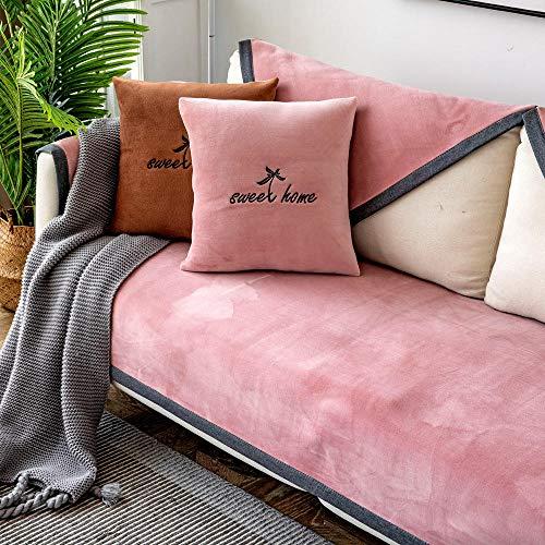 YUTJK Funda de Sofá/Funda de sofá Antideslizante/Funda de Sofá/Lavable/Antiácaros/Antiarrugas,para sofá de 1/2/3/4 plazas,Funda de sofá de Felpa de Lujo Antideslizante-Rosado_Los 90×240cm